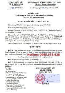 Bảng giá ca máy tỉnh Bắc Giang theo Quyết định 989/QĐ-UBND