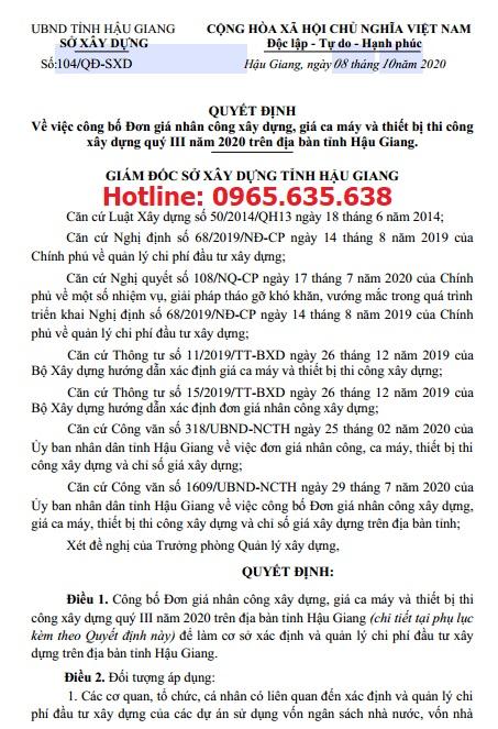 Quyết định 104/QĐ-SXD Bảng giá ca máy tỉnh Hậu Giang