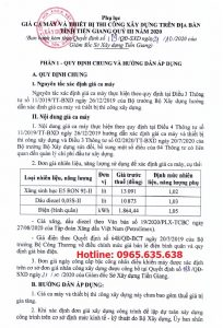 Bảng giá ca máy tỉnh Tiền Giang Quyết định 189/QĐ-SXD