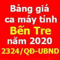 Bảng giá ca máy tỉnh Bến Tre Quyết định 2324/QĐ-UBND ngày 21/9/2020