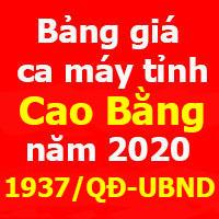 Quyết định 1937/QĐ-UBND Bảng giá ca máy tỉnh Cao Bằng