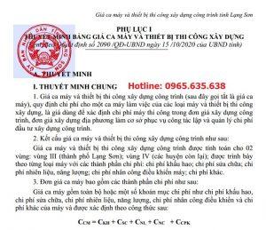 Bảng giá ca máy tỉnh Lạng Sơn năm 2020