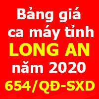 Bảng giá ca máy tỉnh Long An Quyết định 654/QĐ-SXD