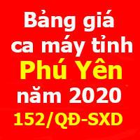Bảng giá ca máy tỉnh Phú Yên Quyết định 152/QĐ-SXD
