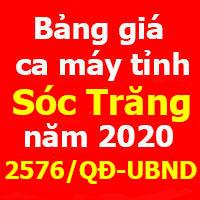 Bảng giá ca máy tỉnh Sóc Trăng Quyết định 2576/QĐ-UBND