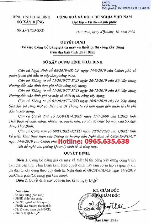 Bảng giá ca máy tỉnh Thái Bình năm 2020 theo Quyết định 124/QĐ-SXD