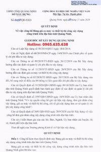 Bảng giá ca máy tỉnh Quảng Ninh 2020 Quyết định 4438/QĐ-SXD