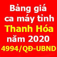 Bảng giá ca máy tỉnh Thanh Hóa 2020