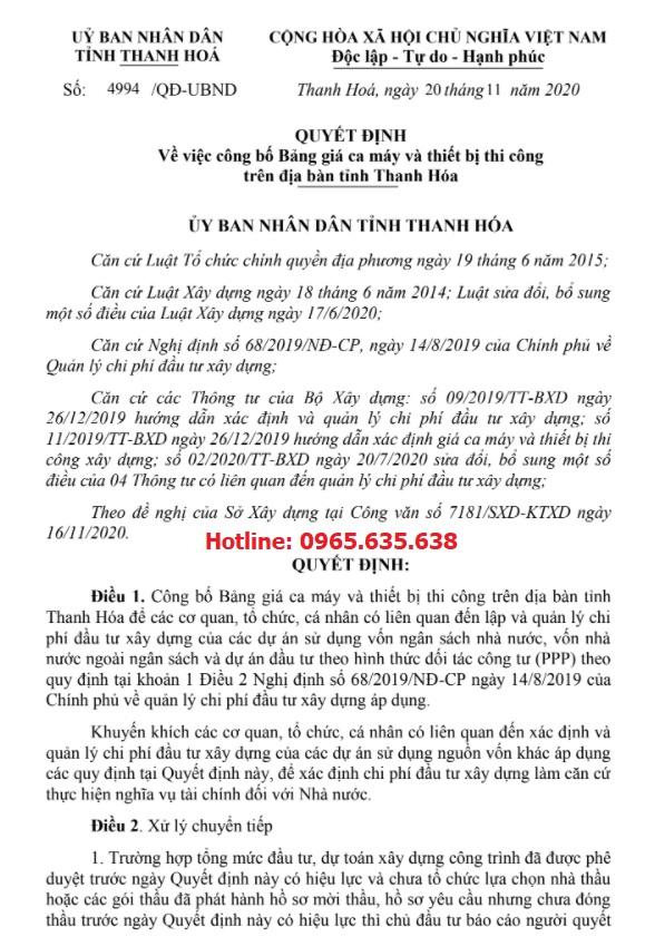 Quyết định 4994/QĐ-UBND Bảng giá ca máy tỉnh Thanh Hóa 2020