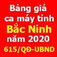 Bảng giá ca máy tỉnh Bắc Ninh 2020