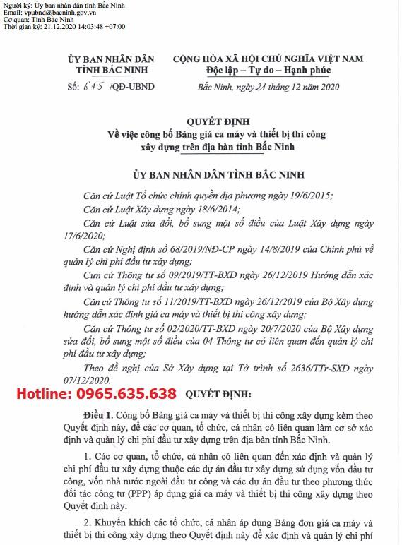 Bảng giá ca máy tỉnh Bắc Ninh theo Quyết định 615/QĐ-UBND
