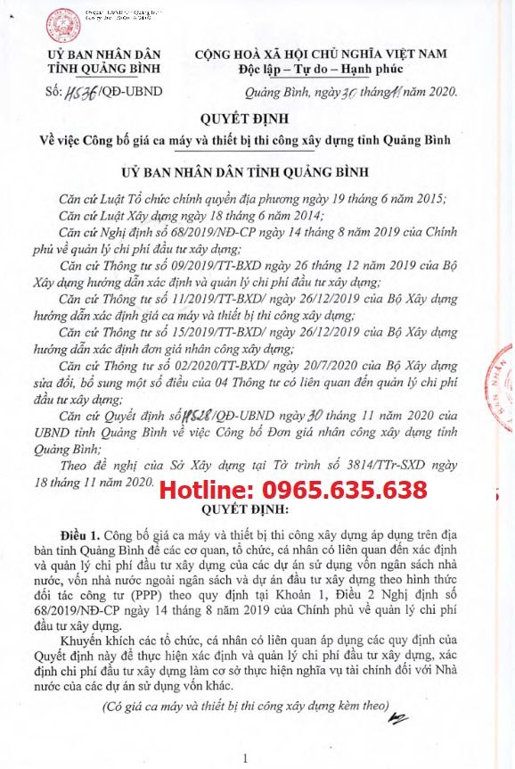 Bảng giá ca máy tỉnh Quảng Bình Quyết định 4536/QĐ-UBND
