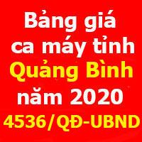 Quyết định 4536/QĐ-UBND Bảng giá ca máy tỉnh Quảng Bình
