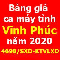 Công bố số 4698/SXD-KTVLXD Bảng giá ca máy tỉnh Vĩnh Phúc năm 2020