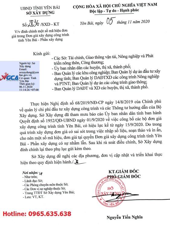 Công văn đính chính đơn giá xây dựng tỉnh Yên Bái