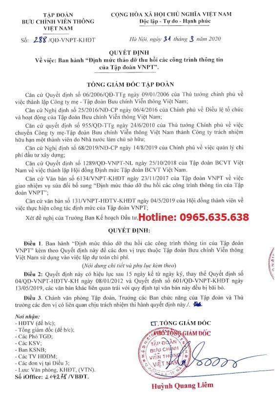 Định mức Viễn thông năm 2020 Quyết định 288/QĐ-VNPT-KHĐT
