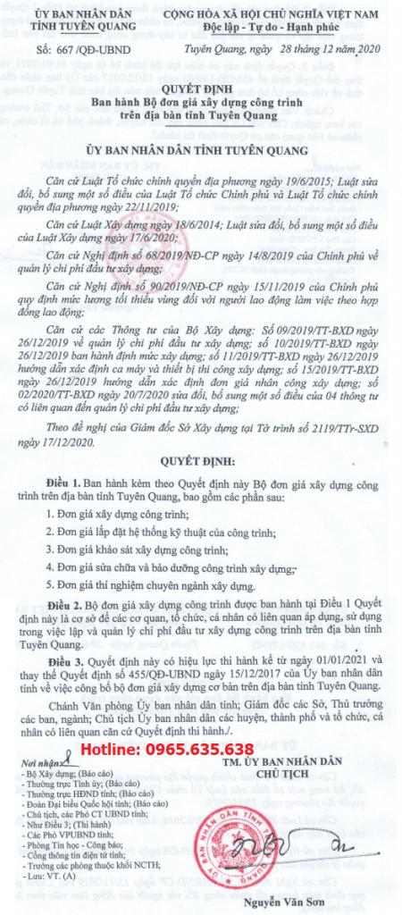 Đơn giá xây dựng tỉnh Tuyên Quang quyết định 667/QĐ-UBND