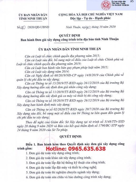 Đơn giá XDCT tỉnh Ninh Thuận Quyết định 40/2020/QĐ-UBND