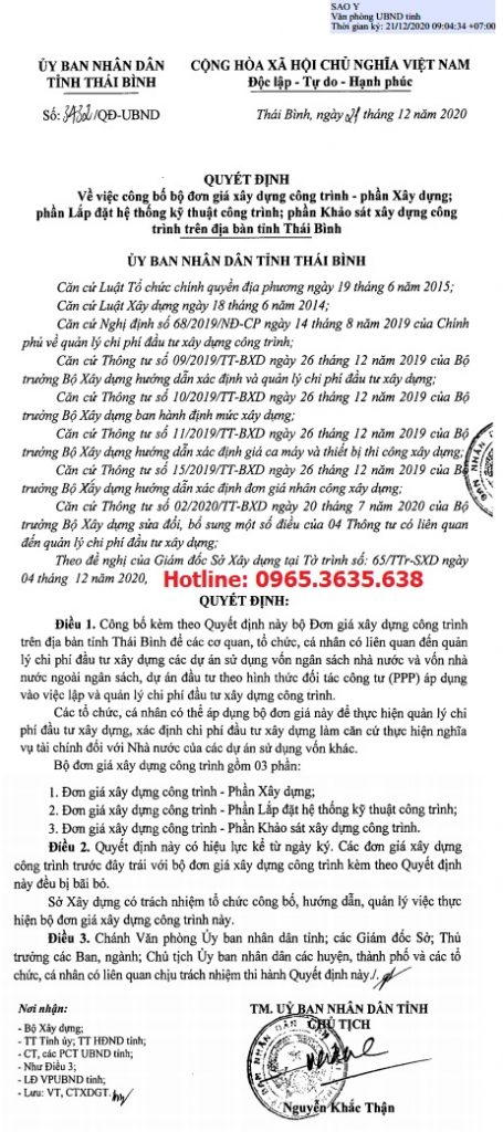 Quyết định 3432/QĐ-UBND Đơn giá XDCT tỉnh Thái Bình năm 2020