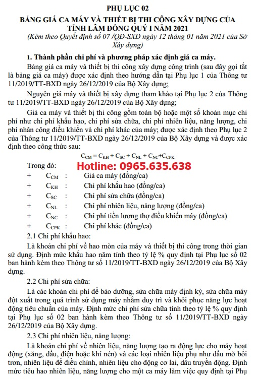 Bảng giá ca máy tỉnh Lâm Đồng năm 2021