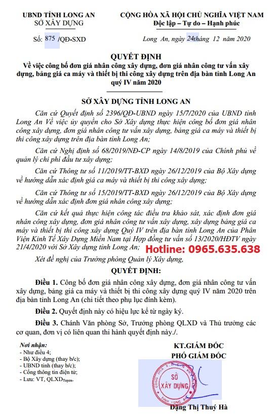 Bảng giá ca máy tỉnh Long An Quyết định 875/QĐ-SXD