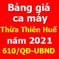 bảng giá ca máy tỉnh Thừa Thiên Huế năm 2021