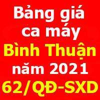 Quyết định 62/QĐ-SXD Bảng giá ca máy tỉnh Bình Thuận 2021