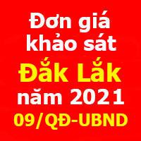 Đơn giá khảo sát tỉnh Đắk Lắk năm 2021