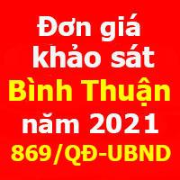 Đơn giá khảo sát tỉnh Bình Thuận năm 2021