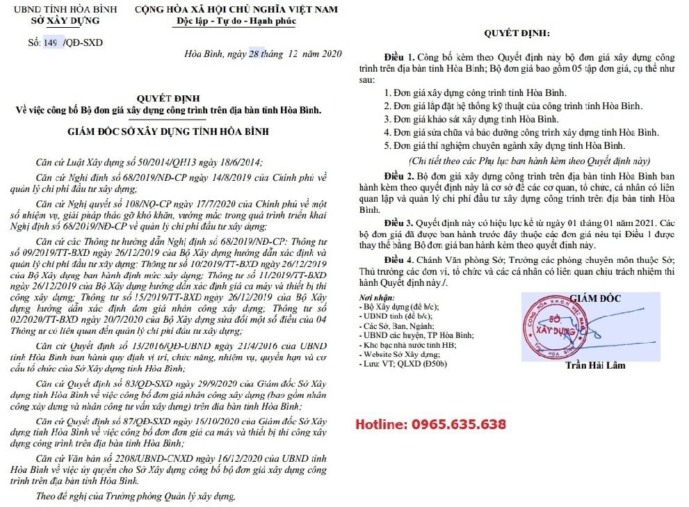Đơn giá khảo sát tỉnh Hòa Bình Quyết định 149/QĐ-SXD