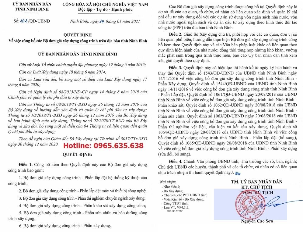 Đơn giá khảo sát tỉnh Ninh Bình Quyết định 102/QĐ-UBND