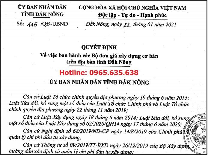 hướng dẫn lập dự toán tỉnh Đắk Nông