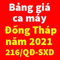 Bảng giá ca máy tỉnh Đồng Tháp năm 2021 Quyết định 216/QĐ-SXD