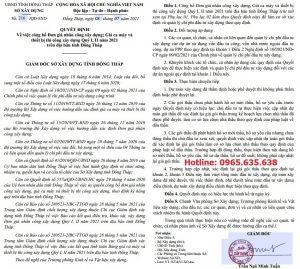 Bảng giá ca máy tỉnh Đồng Tháp Quyết định 216/QĐ-SXD