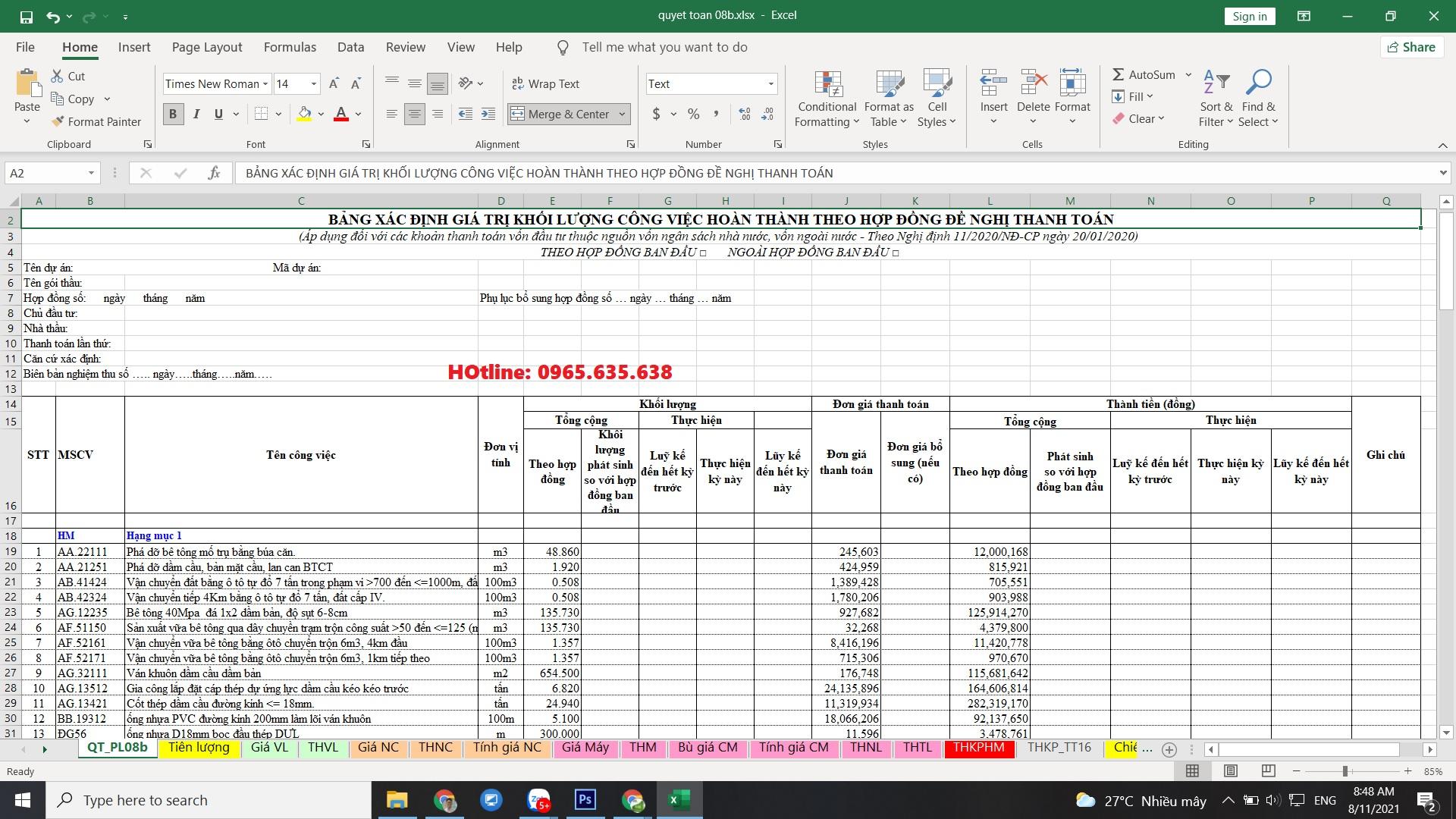 file excel quyết toán công trình