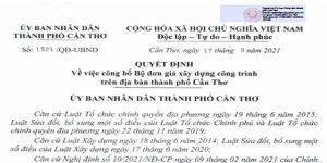Quyết định 1821/QĐ-UBND Đơn giá xây dựng Cần Thơ năm 2021