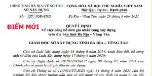 Quyết định 157/QĐ-SXD đơn giá nhân công Bà Rịa Vũng Tàu năm 2021