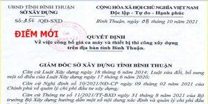 Quyết định 256/QĐ-SXD Bảng giá ca máy tỉnh Bình Thuận
