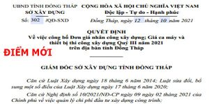 Bảng giá ca máy tỉnh Đồng Tháp quyết định 302/QĐ-SXD